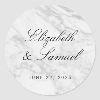 Elegant Marble White Grey Round Wedding Sticker