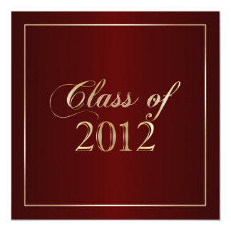 Elegant Maroon and Gold Class of 2012 Invitation