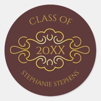 Elegant Maroon | Gold Flourish Class of Year Name Classic Round Sticker