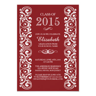 Elegant Maroon White Graduation Party Invitation