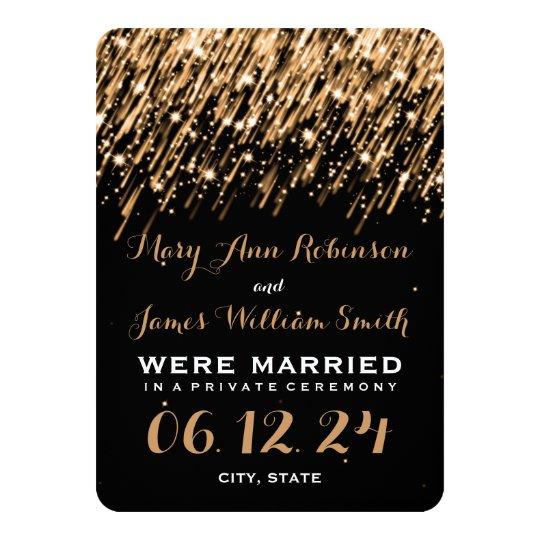Elegant Marriage Elopement Falling Stars Gold Card
