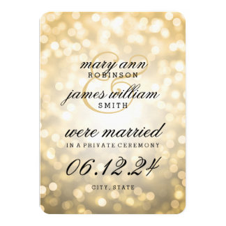 "Elegant Marriage / Elopement Gold Bokeh Lights 4.5"" X 6.25"" Invitation Card"