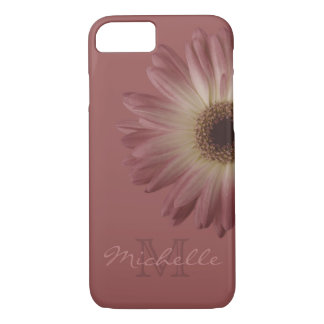 Elegant Marsala Wine Floral Daisy Monogram Name iPhone 8/7 Case