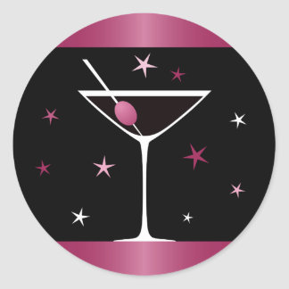 Elegant martini cocktail drink glass fuchsia black round sticker