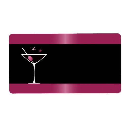 Elegant martini cocktail drink glass fuchsia black shipping label