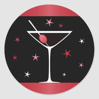 Elegant martini cocktail drink glass red black classic round sticker