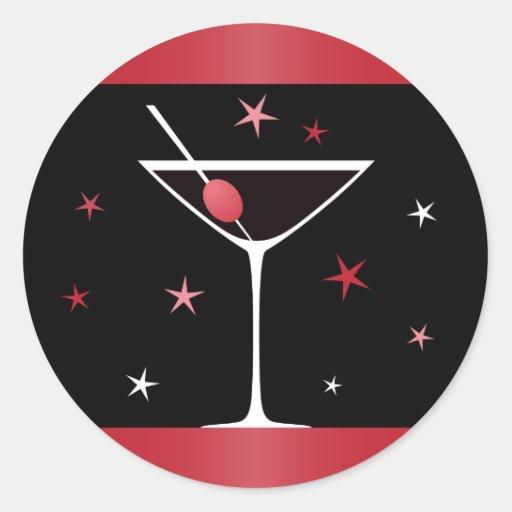 Elegant martini cocktail drink glass red black sticker