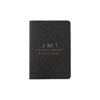 elegant masculine monogram black passport holder