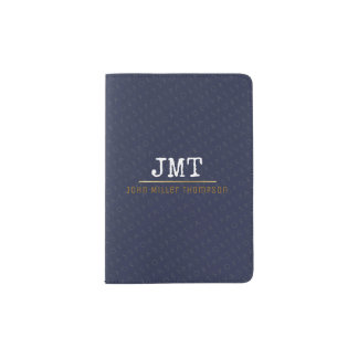 elegant masculine monogram passport holder