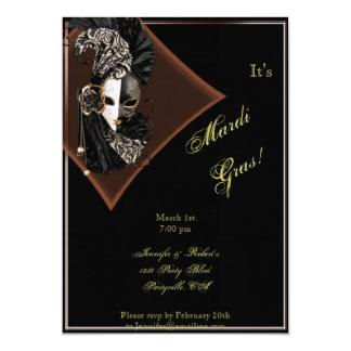 Elegant Mask on Black Bronze Mardi Gras Party Card