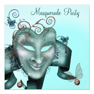 Elegant Mask Teal Blue Masquerade Party 13 Cm X 13 Cm Square Invitation Card