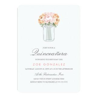 Elegant Mason Jar Quinceañera Card