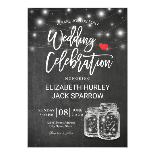 Elegant Mason Jar String Light Wedding Celebration Card