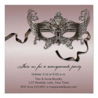Elegant Masquerade Party 13 Cm X 13 Cm Square Invitation Card