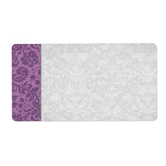 Elegant Mauve Damask Wedding Shipping Label