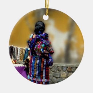 Elegant Mayan Woman at the Wall Round Ceramic Decoration