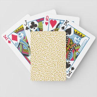 Elegant Maze Modern Art - Gold & White Bicycle Playing Cards