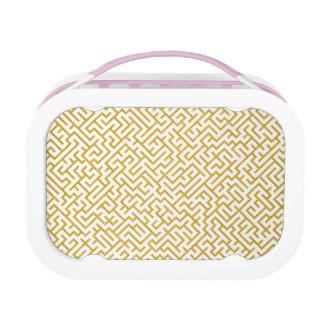 Elegant Maze Modern Art - Gold & White Lunch Box