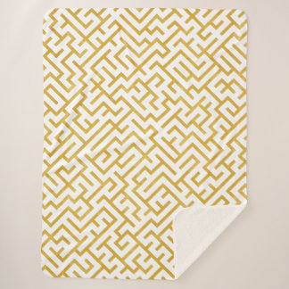 Elegant Maze Modern Art - Gold & White Sherpa Blanket