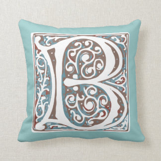 Elegant Medieval Letter B Antique Monogram Throw Pillow
