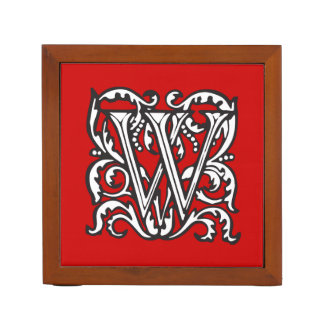 Elegant Medieval Letter W Antique Monogram Desk Organiser