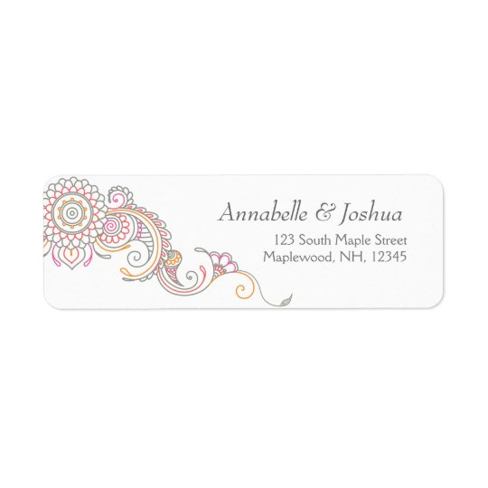 Elegant Mehndi design return address labels