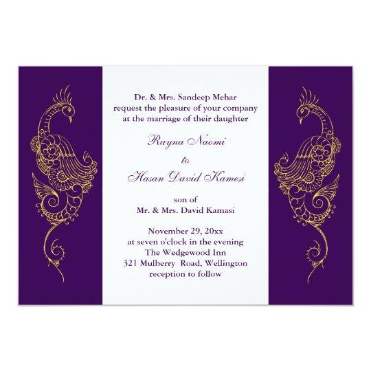 Elegant Mehndi Peacock Wedding Invite Purple White