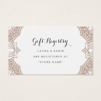 Elegant Mehndi Registry Cards