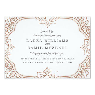 Elegant Mehndi Rehearsal Dinner 13 Cm X 18 Cm Invitation Card
