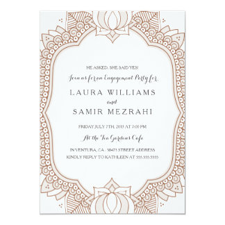 Elegant Mehndi Wedding Engagement Party 13 Cm X 18 Cm Invitation Card