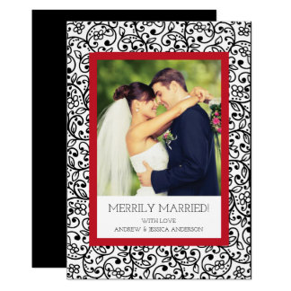 Elegant Merrily Married First Christmas Photo Card