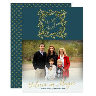 Elegant Merry Christmas blue gold family photo Card