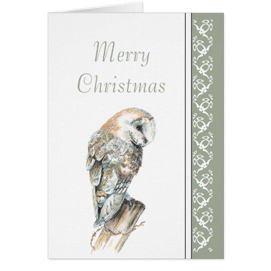 Elegant Merry Christmas Nature Barn Owl, Bird Card