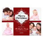 Elegant Merry Christmas Scroll Holiday Photo Card Personalised Announcement