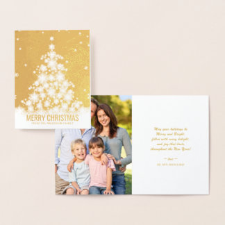 Elegant Merry Christmas Tree Holiday Photo Foil Card