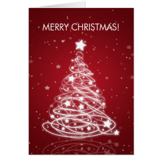 Elegant Merry Christmas Tree MOD Red Card
