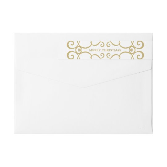 Elegant Merry Christmas Wraparound Label / Gold