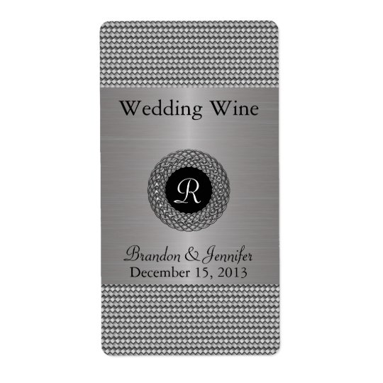 Elegant Metal Look Wedding Mini Wine Labels