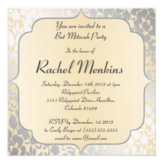 Elegant Metallic Beige Bat Mitzvah Invitation