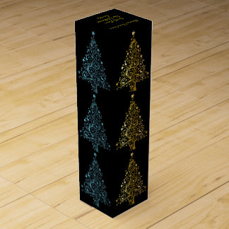 Elegant Metallic Blue Black Gold Christmas Tree Wine Gift Box
