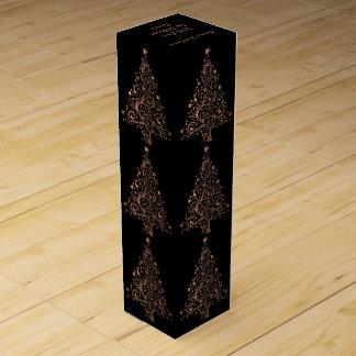 Elegant Metallic Brown Black Copper Christmas Tree Wine Box