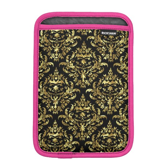Elegant Metallic Gold & Black Floral Damasks 1a iPad Mini Sleeve