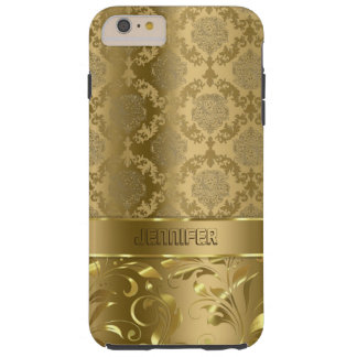 Elegant Metallic Gold Damasks & Lace Tough iPhone 6 Plus Case
