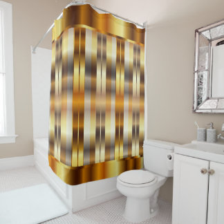 Elegant Metallic Gold Stripes Shower Curtain