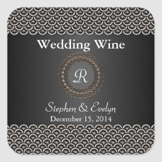 Elegant Metallic Look Wedding Mini Wine Sticker