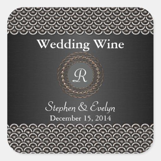 Elegant Metallic Look Wedding Mini Wine Sticker
