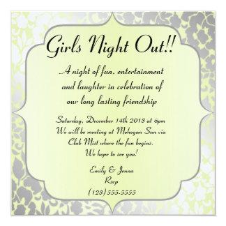 Elegant Metallic Pistachio Girls Night Out 13 Cm X 13 Cm Square Invitation Card