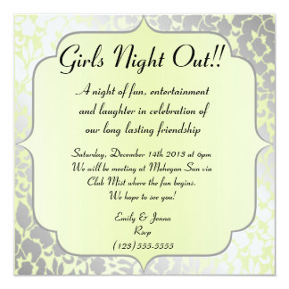 Elegant Metallic Pistachio Girls Night Out Card