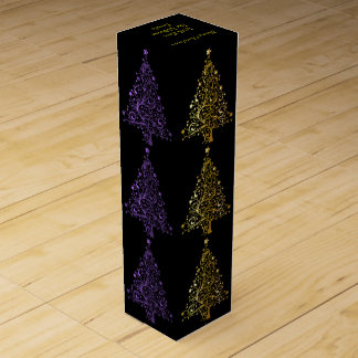 Elegant Metallic Purple Black Gold Christmas Tree Wine Gift Box