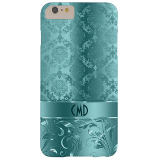 Elegant Metallic Teal-Green Damasks & Lace Barely There iPhone 6 Plus Case